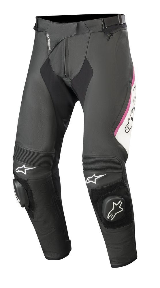 a3e0171ed26dd9 Pantaloni moto donna pelle Alpinestars STELLA MISSILE v2 Nero Bianco Fucsia
