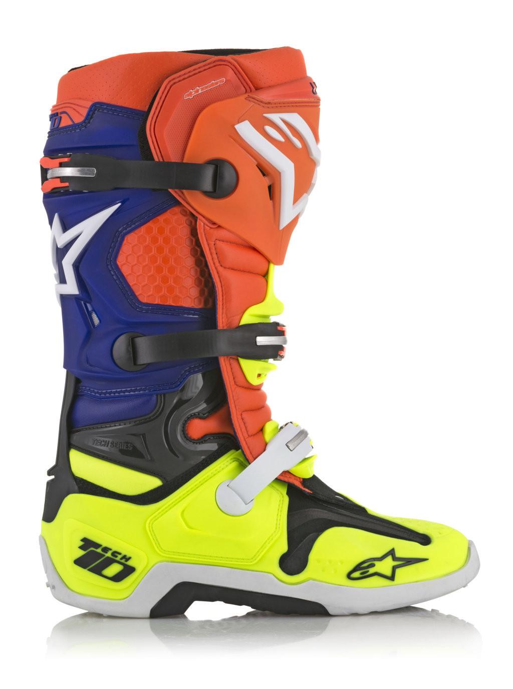 la vendita di scarpe vendita calda genuina ampia scelta di colori e disegni Stivali cross Alpinestars Tech 10 arancio fluo blu bianco giallo fluo