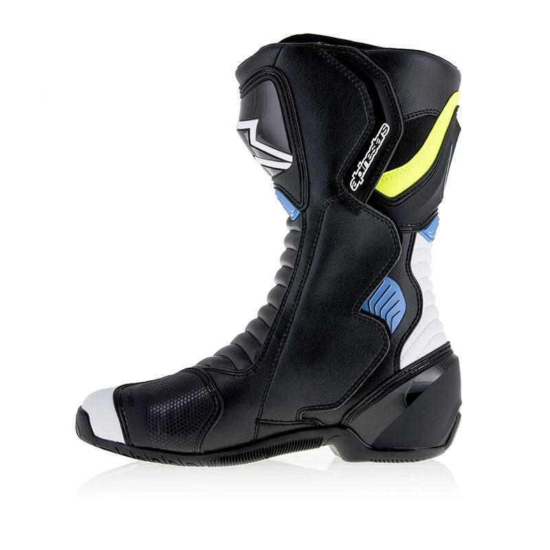 Stivali moto racing Alpinestars SMX6 V2 Nero Bianco Giallo Blu