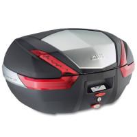 Bauletto Givi V47 monokey 47 litri con finitura in alluminio e catadiottri rossi