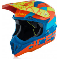 Casco cross Acerbis Impact 3.0 in fibra Arancio Blu Giallo