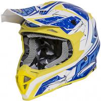 Casco cross Premier EXIGE QX12 Bianco Blu Giallo
