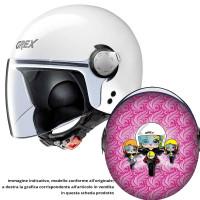 Casco jet bambino Grex G1.1 ARTWORK Lady Biker Rosa