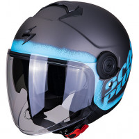 Casco jet Scorpion EXO CITY BLURR Argento Opaco Blu