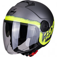 Casco jet Scorpion EXO CITY BLURR Argento Opaco Giallo Neon