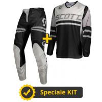 Completo cross Maglia + Pantaloni Scott 350 Race Nero Grigio