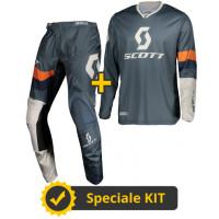 Completo cross Maglia + Pantaloni Scott 350 Track Blu Arancio