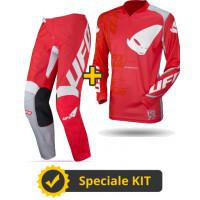 Completo cross Maglia + Pantaloni Ufo Plast INDIUM Rosso