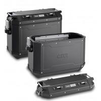 Coppia valigie Givi Trekker Outback 48 e 37 litri alluminio Nero