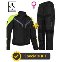 Kit Gamma Lady CE Nero Giallo - Giacca moto donna certificata Befast + Pantaloni moto donna certificati Befast
