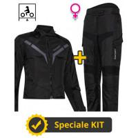Kit Gamma Lady CE Nero - Giacca moto donna certificata Befast + Pantaloni moto donna certificati Befast