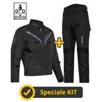Kit Gamma CE Nero - Giacca moto certificata Befast + Pantaloni moto certificati Befast