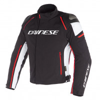 Giacca moto touring Dainese RACING 3 D-DRY Nero Bianco Rosso Fluo