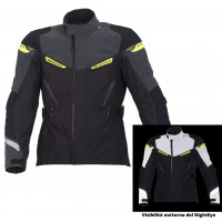 Giacca moto touring Macna Myth WP Night Eye nero giallo fluo