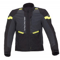 Giacca moto touring Macna Traction WP nero Night Eye fluo yellow