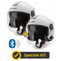 Kit coppia JET Connect Bianco - 2 caschi jet Befast JET Connect con interfono integrato