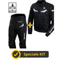 Kit completo Airtech CE Nero- Giacca moto estiva certificata Befast + Pantaloni moto estivi certificati Befast