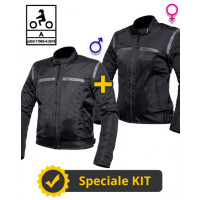 Kit Coppia FreeLife CE Nero - Giacca moto estiva Befast FreeLife Nera - Uomo + Donna