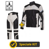 Kit completo DUNE CE Grigio - Giacca moto certificata Befast + Pantaloni moto certificati Befast