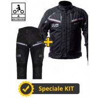 Kit completo Transformer Klima CE 3 strati Nero - Giacca moto certificata Befast + Pantaloni moto certificati Befast