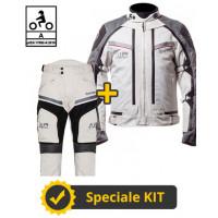 Kit completo Transformer Klima CE 3 strati Grigio - Giacca moto certificata Befast + Pantaloni moto certificati Befast