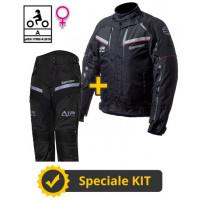Kit completo Transformer Klima Lady CE 3 strati Nero - Giacca moto donna certificata Befast + Pantaloni moto donna certificati Befast