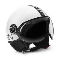 Casco jet Momo Design Fighter Classic bianco lucido nero