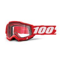 Occhiali cross 100% Accuri 2 enduro moto Rosso lente trasparente