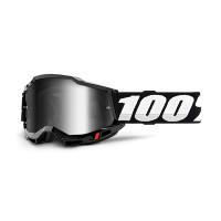 Occhiali cross 100% Accuri 2 Nero lente a specchio argento
