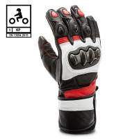Guanti moto pelle racing Befast PROTECTOR CE certificati Nero Rosso