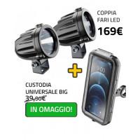 Coppia fari led LEDLIGHT + Custodia rigida ARMOR Big Cellularline Interphone