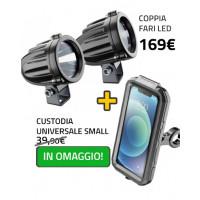 Coppia fari led LEDLIGHT + Custodia rigida ARMOR Cellularline Interphone