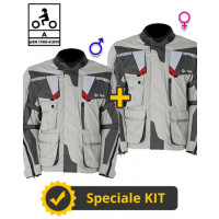 Kit coppia Touring Tech CE Grigio - Giacca moto certificata Befast Uomo + Donna