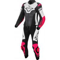 Tuta moto donna pelle divisibile Macna Tracktix Bianco Rosa Nero