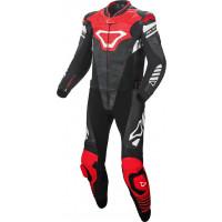 Tuta moto pelle divisibile Macna Tracktix Nero Bianco Rosso