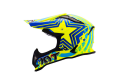 KYT cross helmet Strike Eagle Patriot fiber blue yellow fluo