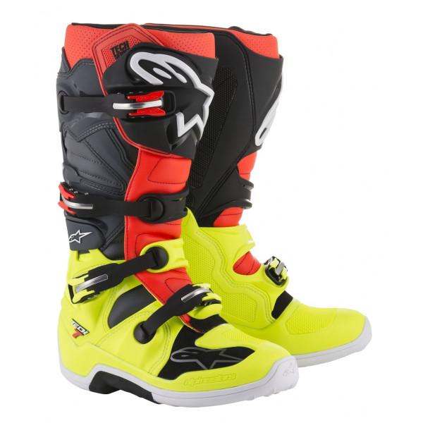 Stivali cross Alpinestars Tech 7 giallo fluo rosso fluo grigio nero