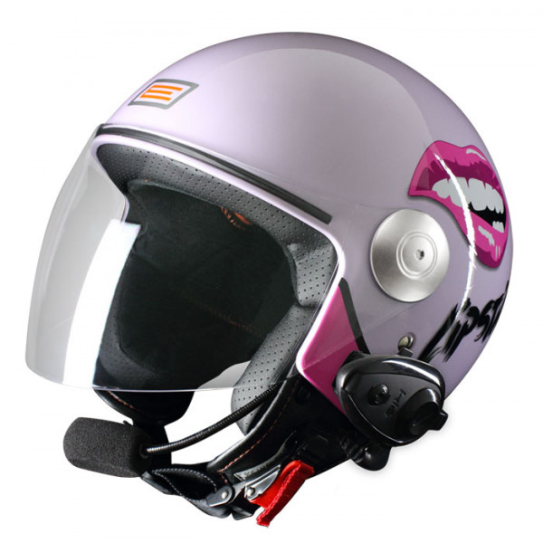 Origine Pronto Lipstick jet helmet with intercom Kiè Lilac