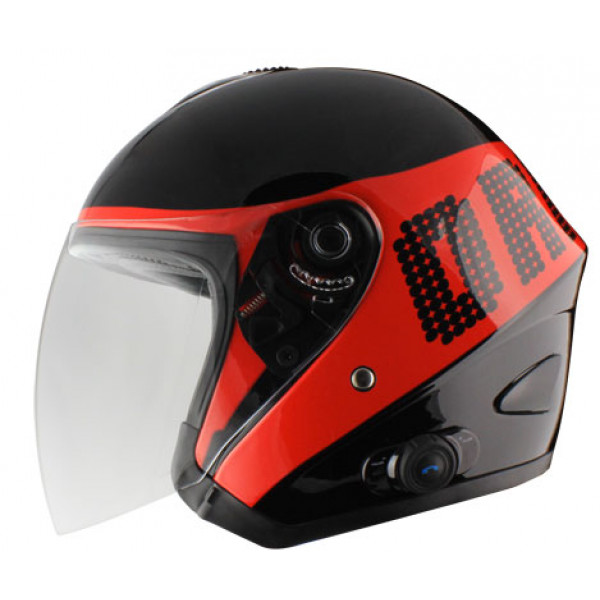 Origin Tornado jet helmet with intercom Disco Blink G2 Red
