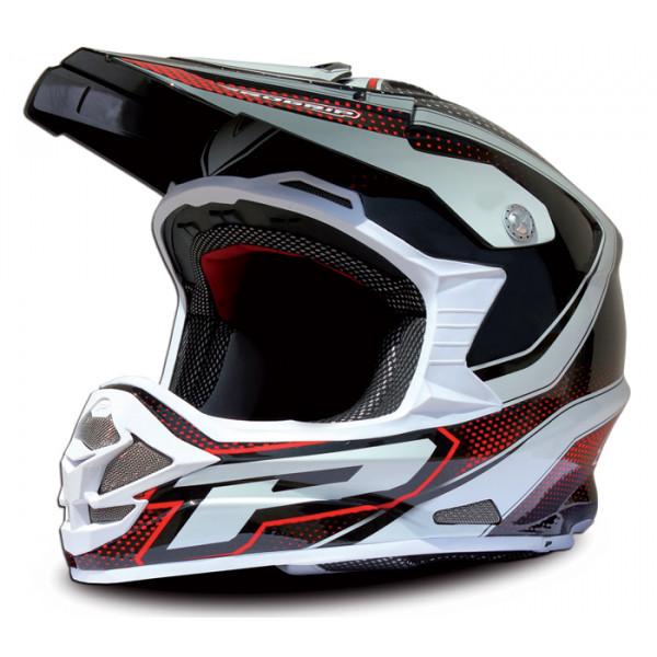 Cross Helmet Black Red Progrip tri compound