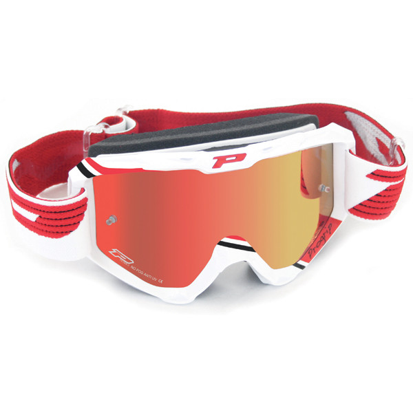 Goggles Progrip cross top with mirrored lenses White