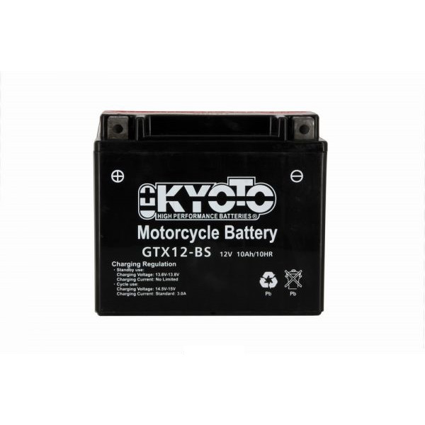 Kyoto battery Ytx12-bs - 12v 10ah - L 150mm W 87mm H 131mm - with acid no maintenance