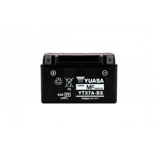 Yuasa battery Ytx7a-bs X6 -12v 6ah - L 150mm W 87mm H 94mm - with acid