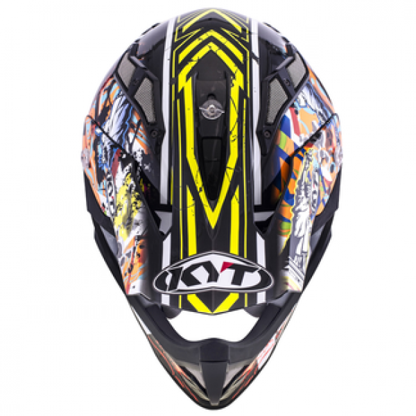 KYT cross helmet Strike Eagle New York fiber yellow fluo