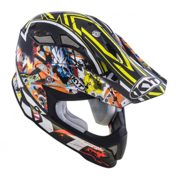 KYT cross helmet Strike Eagle New York fiber yellow fluo