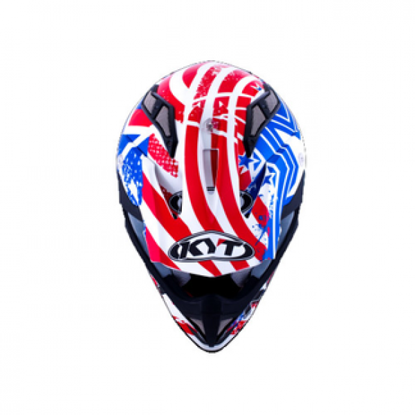 KYT cross helmet Strike Eagle Patriot fiber blue red