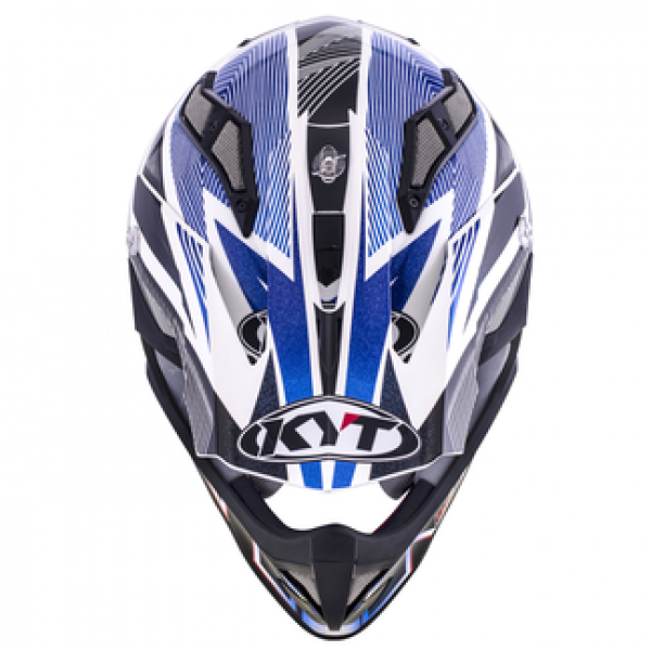 KYT cross helmet Strike Eagle Stripe fiber white blue