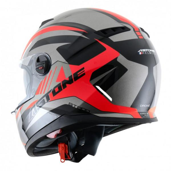 Astone Helmets GT800 Drone full face helmet grey fluo red