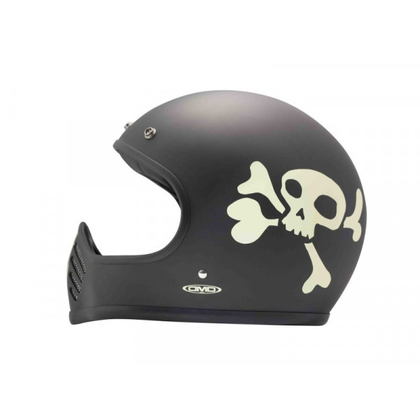 DMD Seventyfive Little Skull full face helmet carbon Dark Grey White
