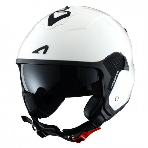 Astone Helmets Minijet Trooper jet Helmet gloss white black